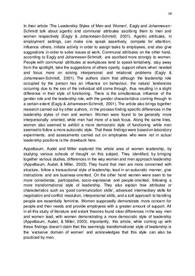 Dissertation on leadership styles
