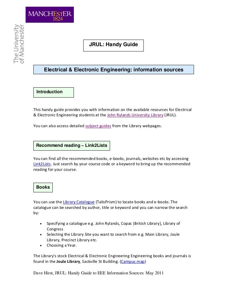 JRUL: Handy Guide       Electrical & Electronic Engineering: information sources IntroductionThis handy guide provides you...