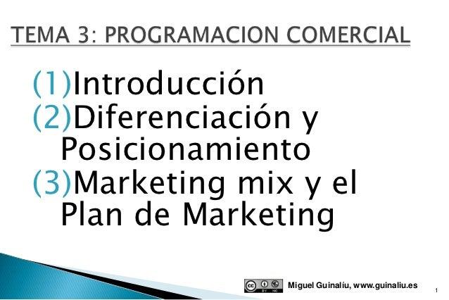 (1)Introducción(2)Diferenciación y  Posicionamiento(3)Marketing mix y el  Plan de Marketing                Miguel Guinalíu...