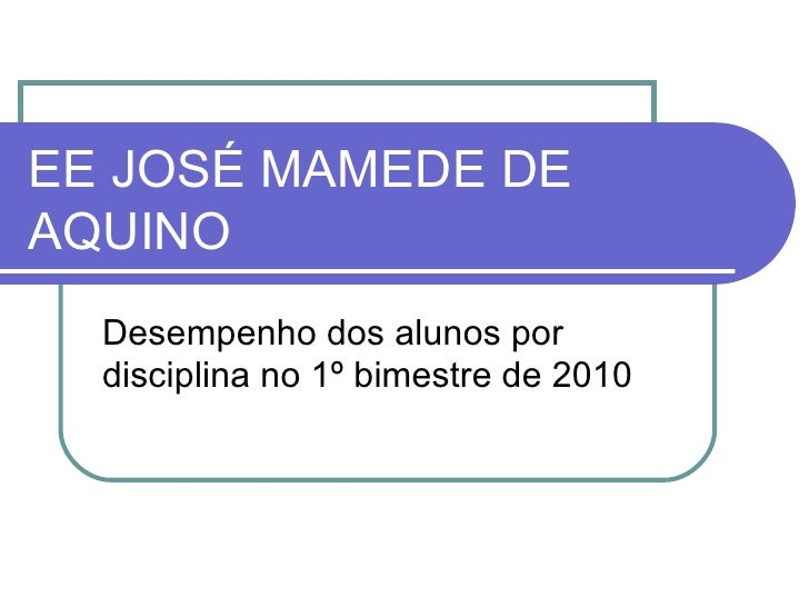 EE JOSÉ MAMEDE DE AQUINO Desempenho dos alunos por disciplina no 1º bimestre de 2010