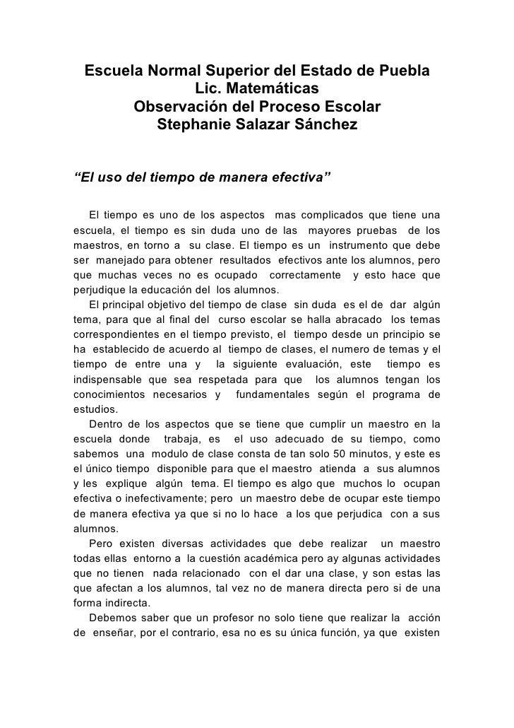 Escuela Normal Superior del Estado de Puebla                Lic. Matemáticas         Observación del Proceso Escolar      ...