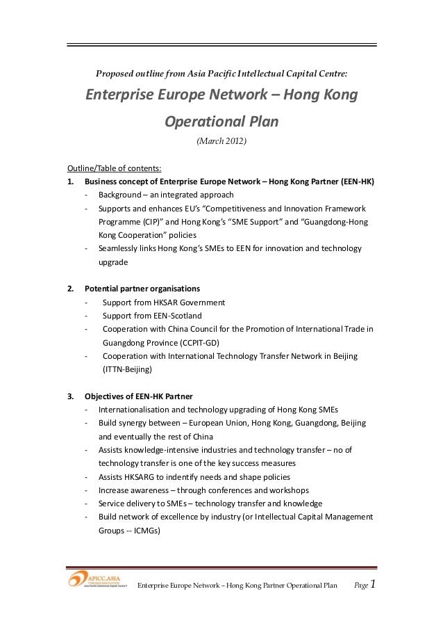 EEN-HK Operational Plan (Proposed Outline)