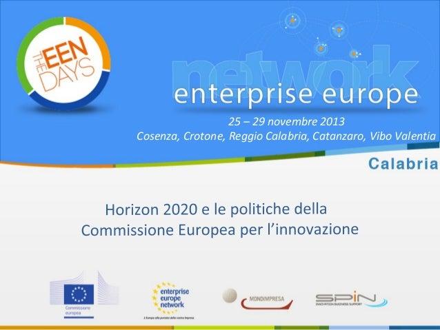 Introduzione a Horizon 2020  - Programma quadro europeo per la ricerca e innovazione (2014 - 2020)