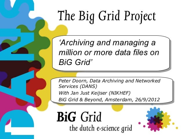 Archiving and managing a million or more data files on BiG Grid
