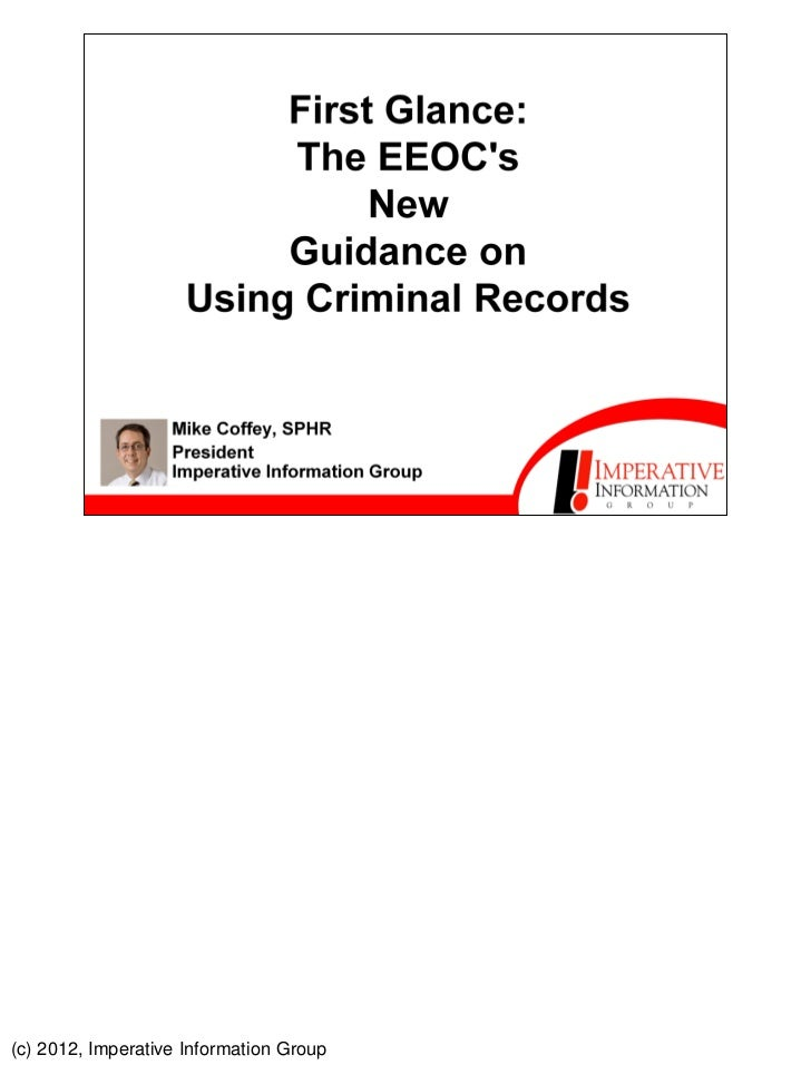 PDF: First Glance: The EEOC's New Guidance on Using Criminal Records