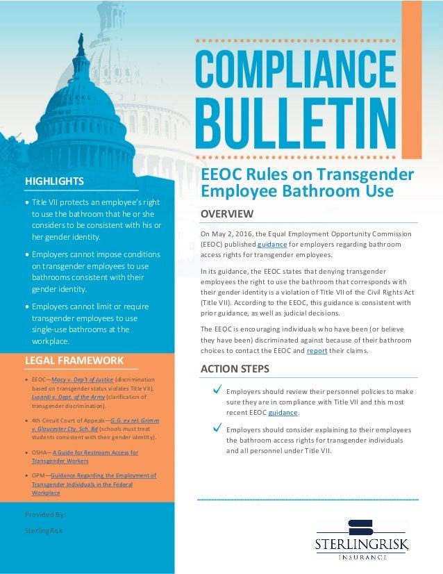 Compliance Bulletin Eeoc Rules On Transgender Employee Bathroom Use