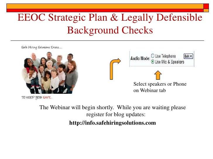 Eeoc strategic plan & legally defensible background checks