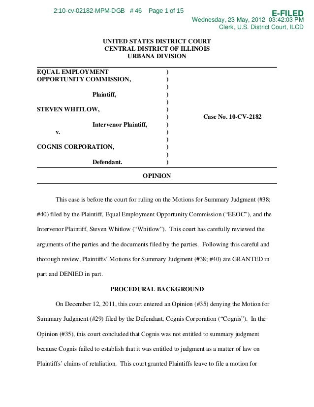 EEOC v. Cognis Corp., 10 cv-2182, c.d.Ill. - EEOC sues employer for 'forcing employee to sign waiver to not file complaint with agency'