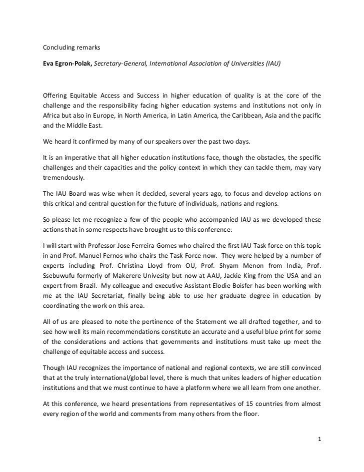 ConcludingremarksEvaEgron‐Polak,Secretary‐General,InternationalAssociationofUniversities(IAU)Offering Equitabl...