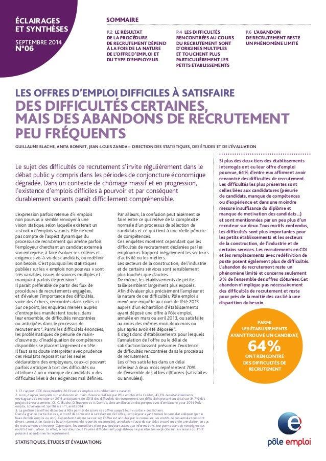 LES OFFRES D'EMPLOI DIFFICILES À SATISFAIRE  DES DIFFICULTÉS CERTAINES,  MAIS DES ABANDONS DE RECRUTEMENT PEU FRÉQUENTS  G...