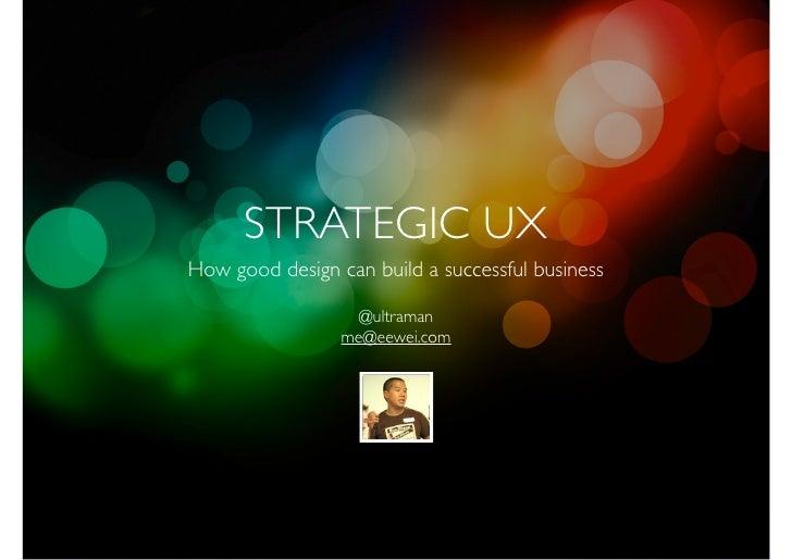 Strategic UX - Good Design = Good Business