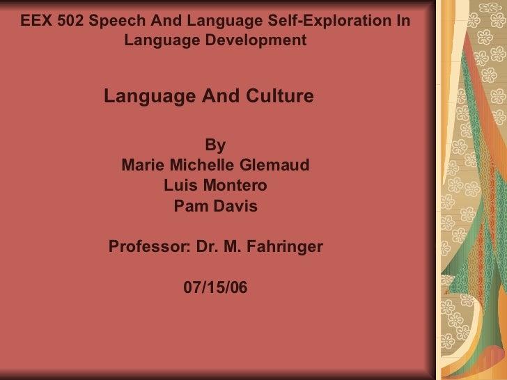 By Marie Michelle Glemaud Luis Montero Pam Davis Professor: Dr. M. Fahringer 07/15/06 EEX 502 Speech And Language Self-Exp...