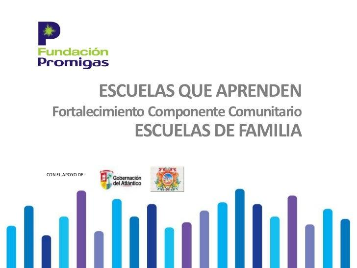ESCUELAS QUE APRENDEN  Fortalecimiento Componente Comunitario                      ESCUELAS DE FAMILIACON EL APOYO DE: