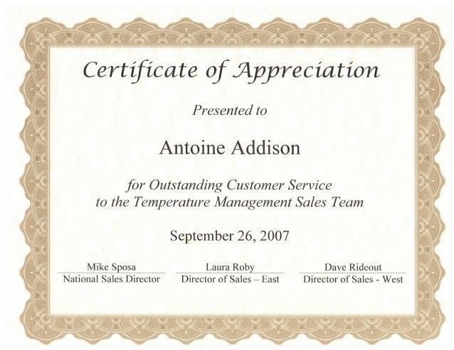 Customer Service Certificate For Tm