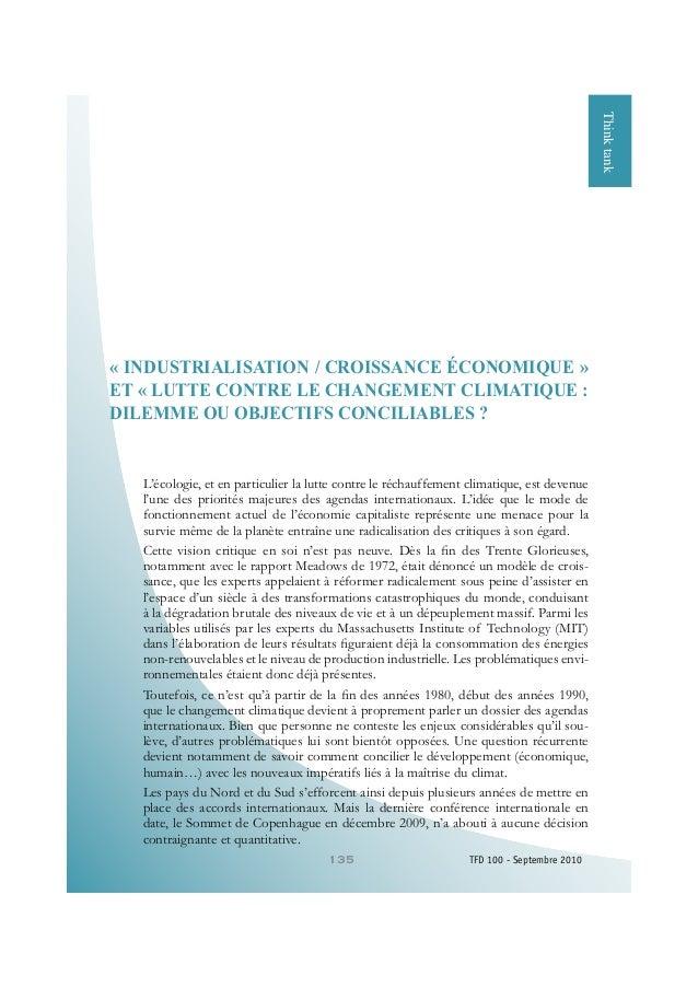 135 TFD 100 - Septembre 2010 FinancementdesPMEFinancementdesPMEThinktank « INDUSTRIALISATION / CROISSANCE ÉCONOMIQUE » ET ...