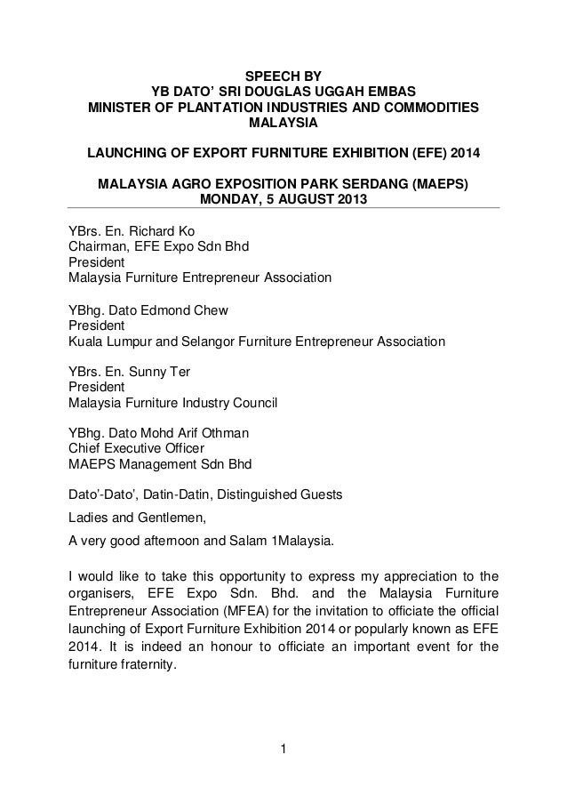 SPEECH BY YB DATO' SRI DOUGLAS UGGAH EMBAS MINISTER OF PLANTATION INDUSTRIES AND COMMODITIES MALAYSIA LAUNCHING OF EXPORT ...
