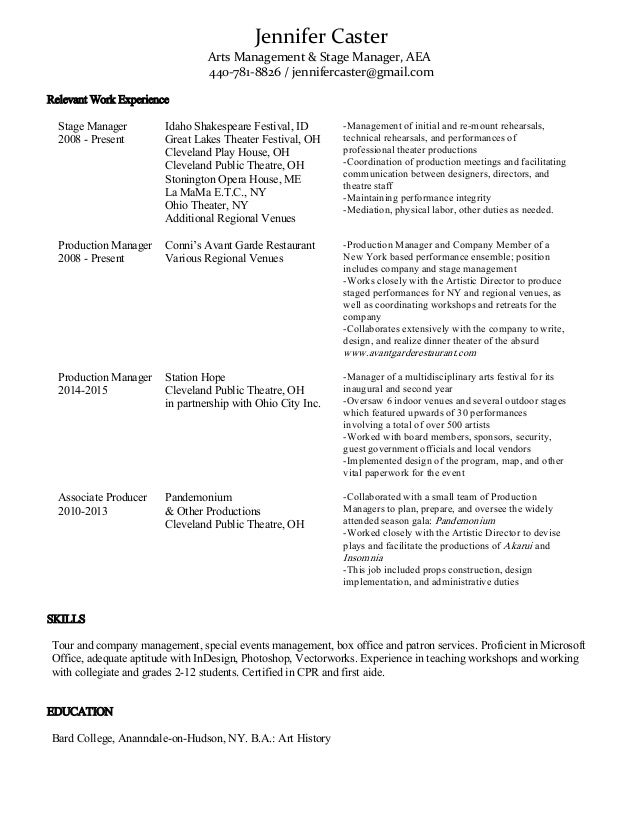 stage manager resume template resume ideas