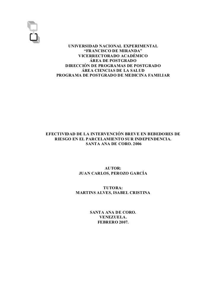 Efectividad de la intervención breve en bebedores de riesgo en el parcelamiento sur independencia(7)