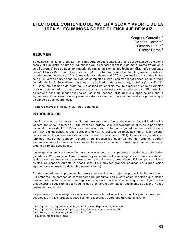 EFECTO DEL CONTENIDO DE MATERIA SECA Y APORTE DE LA    UREA Y LEGUMINOSA SOBRE EL ENSILAJE DE MAÍZ                        ...