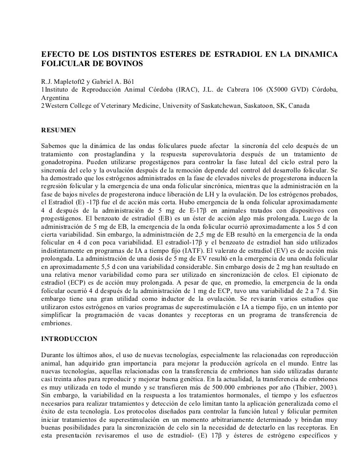 Efecto de los distientos esteres de estradiol en la dinamica folicular de bovinos mapletoft