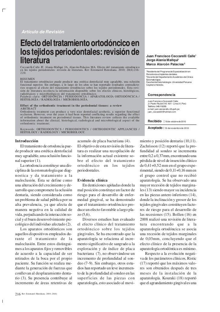 Artículo de Revisión     Efecto del tratamiento ortodóncico en     los tejidos periodontales: revisión de                 ...