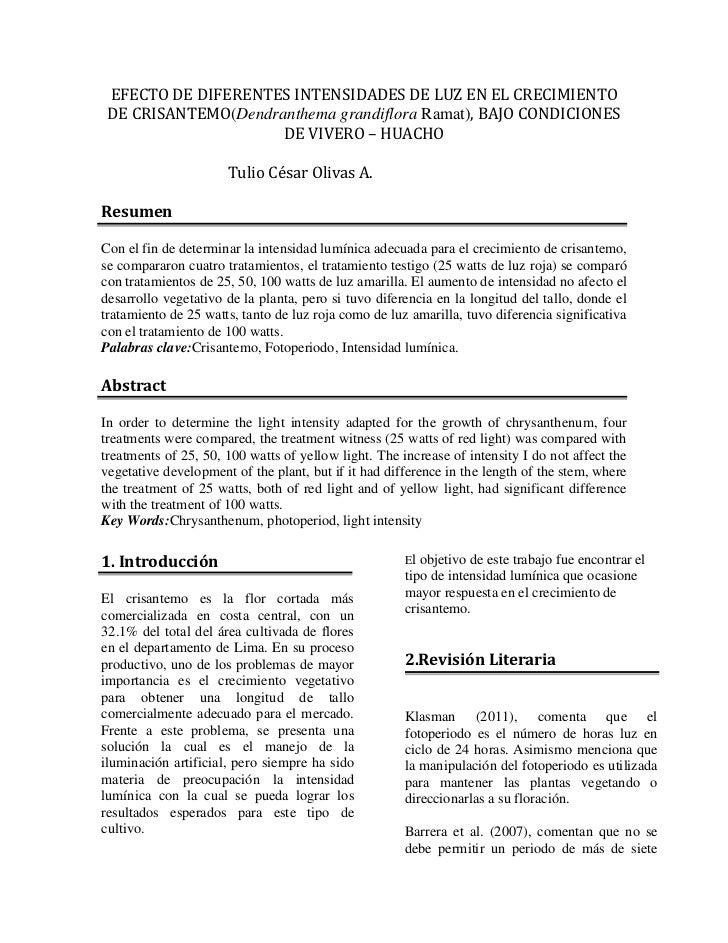 EFECTO DE DIFERENTES INTENSIDADES DE LUZ EN EL CRECIMIENTO DE CRISANTEMO(Dendranthema grandiflora Ramat), BAJO CONDICIONES...