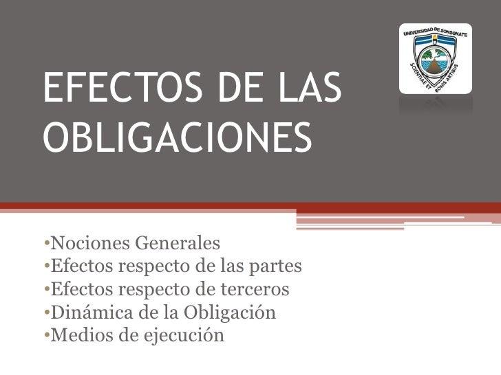 Efectos de las obligacionesii