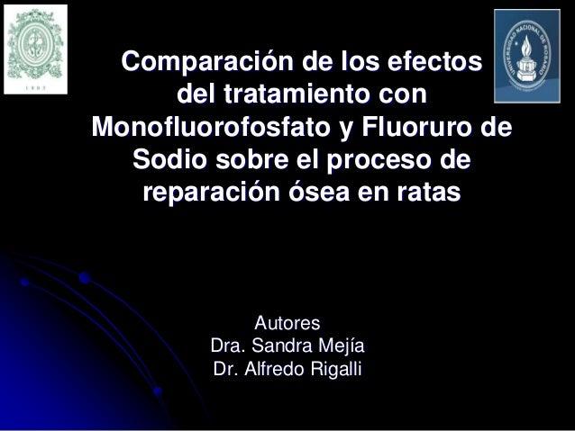 Comparación de los efectos del tratamiento con Monofluorofosfato y Fluoruro de Sodio sobre el proceso de reparación ósea e...