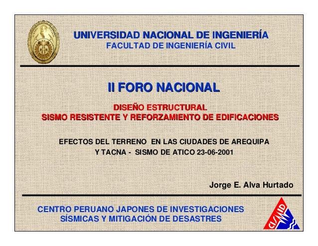 UNIVERSIDAD NACIONAL DE INGENIERÍA              FACULTAD DE INGENIERÍA CIVIL              II FORO NACIONAL               D...