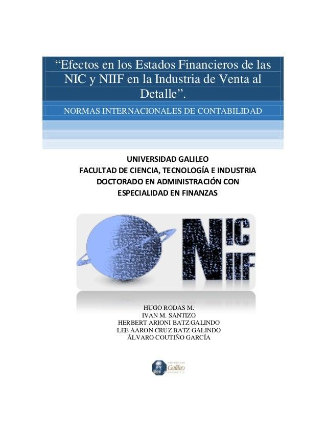 """""""Efectos en los Estados Financieros de las NIC y NIIF en la Industria de Venta al Detalle"""". NORMAS INTERNACIONALES DE CONT..."""