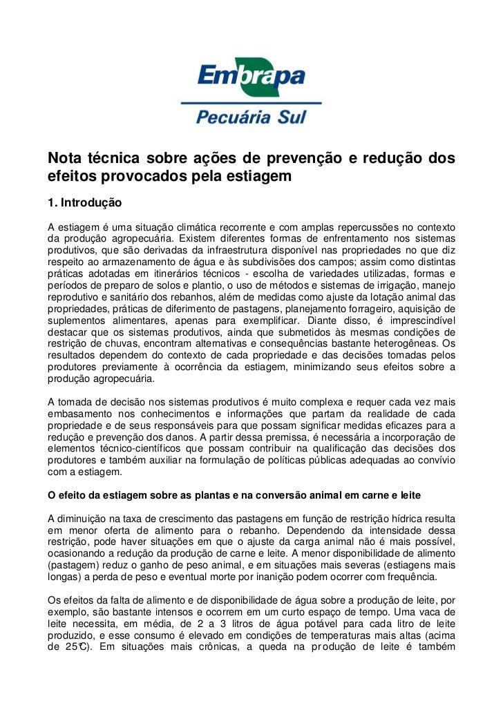 Nota técnica sobre ações de prevenção e redução dosefeitos provocados pela estiagem1. IntroduçãoA estiagem é uma situação ...