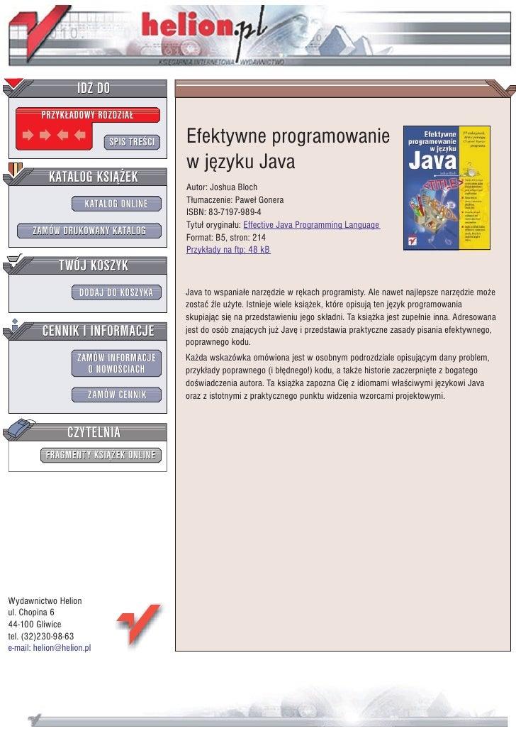 IDZ DO          PRZYK£ADOWY ROZDZIA£                             SPIS TRE CI   Efektywne programowanie                    ...