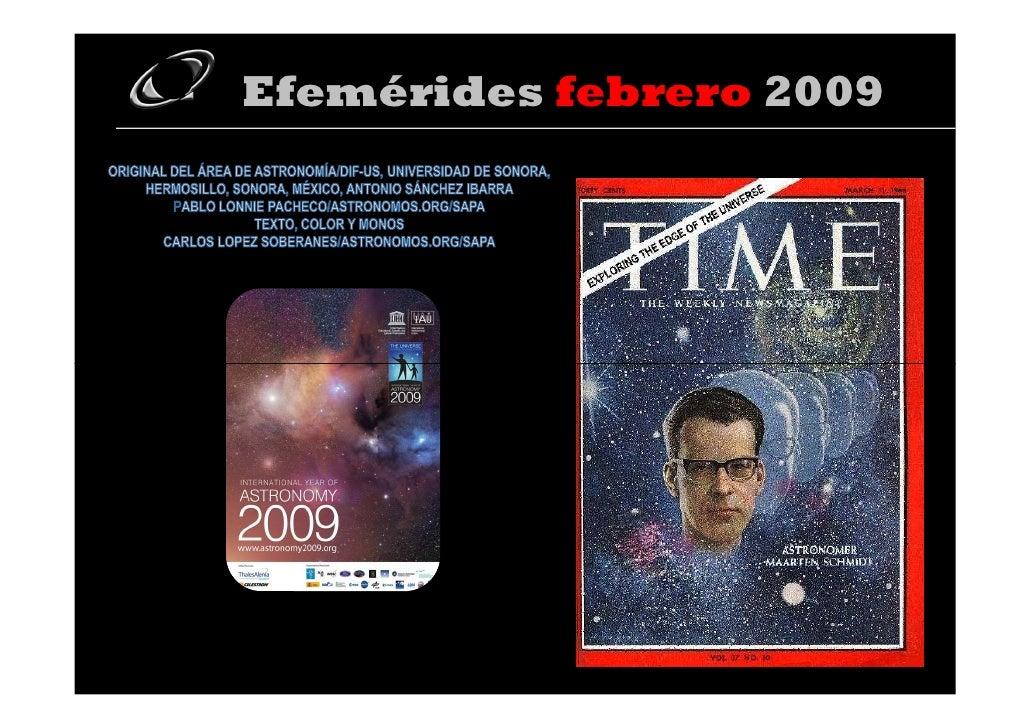Efemerides Febrero 2009