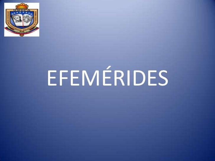 EFEMÉRIDES<br />