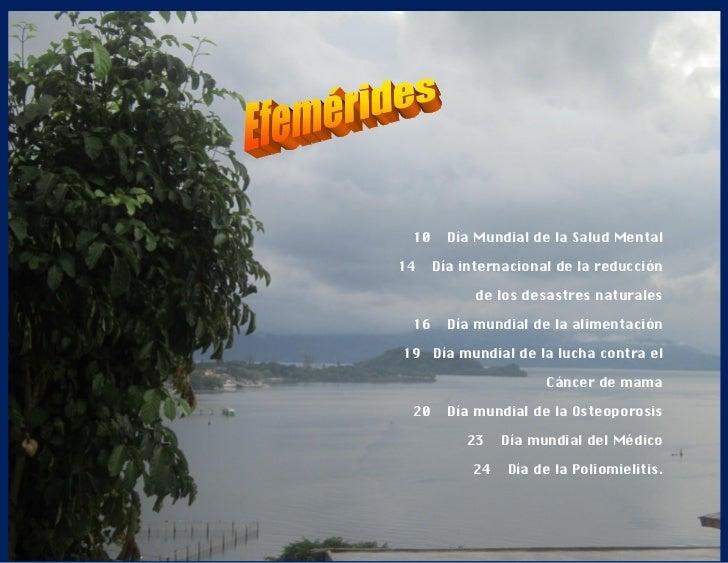 10     Día Mundial de la Salud Mental14    Día internacional de la reducción            de los desastres naturales 16     ...