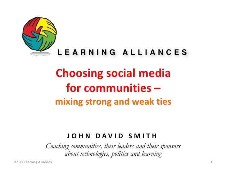 Choosing social mediafor communities –mixing strong and weak ties<br />JOHN DAVID SMITH<br />Coaching communities, their l...
