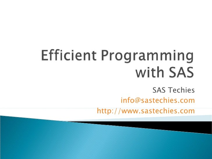 Improving Effeciency with Options in SAS