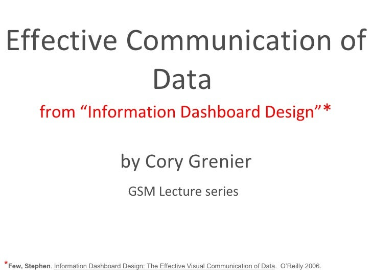 """Effective Communication of Data  from """"Information Dashboard Design"""" * by Cory Grenier GSM Lecture series   * Few, Stephen..."""
