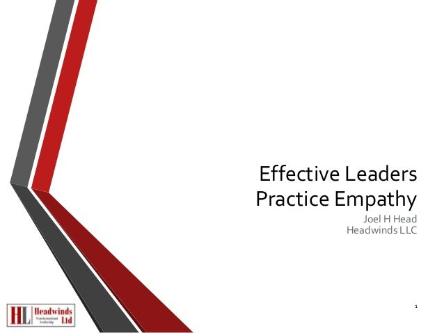 Effective Leaders  Practice Empathy  Joel H Head  Headwinds LLC  1