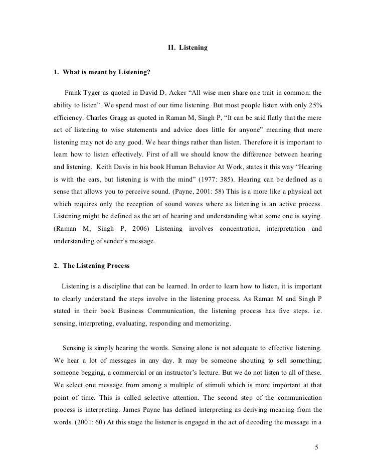 Essay Listening Hearing