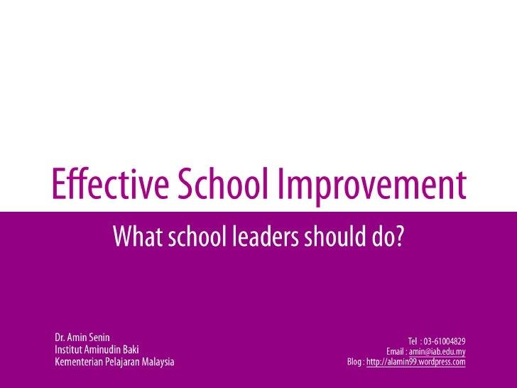 Effective School Improvement1