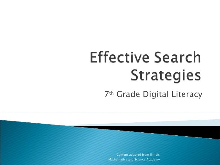 Effective Search Strategies