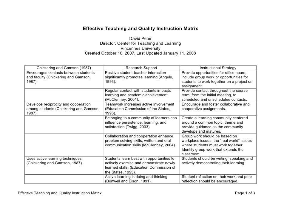 Effective Teaching and Quality Instruction Matrix                                                               David Pete...