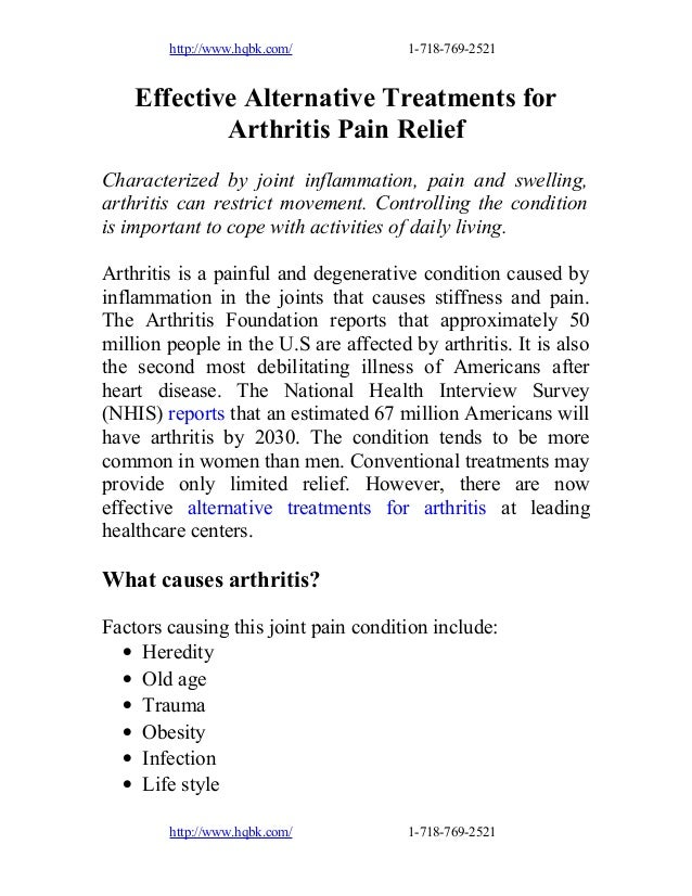 Effective alternative treatments for arthritis pain relief