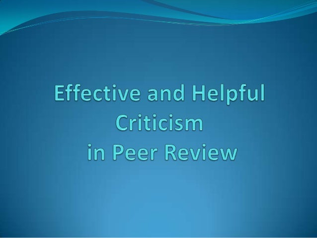 Effective and helpful criticism