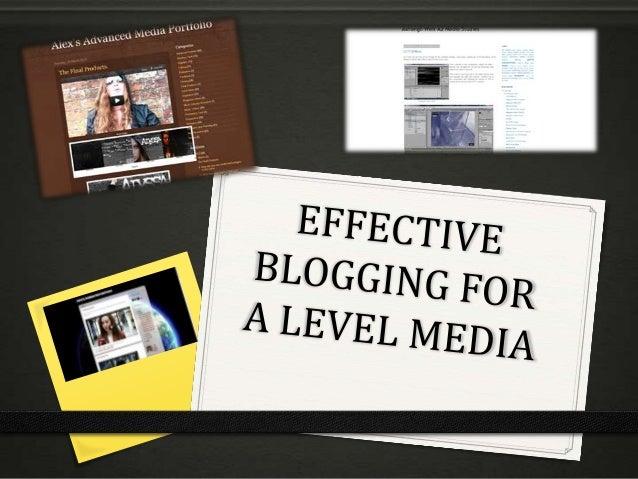 Effective blogging for A Level Media
