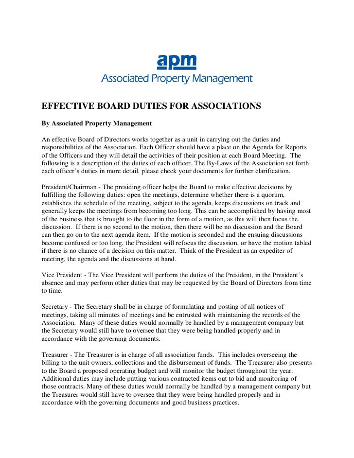 EFFECTIVE BOARD DUTIES FOR ASSOCIATIONS By Associated Property Management  An effective Board of Directors works together ...