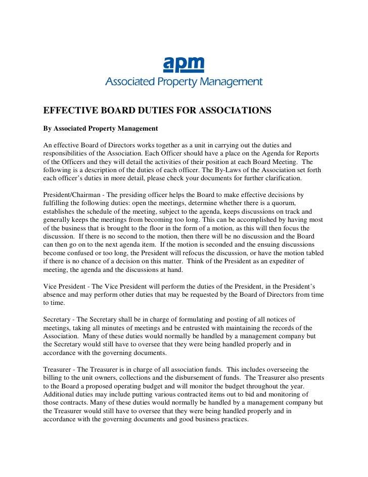 Duties of Effective Board of Directors in Community Associations