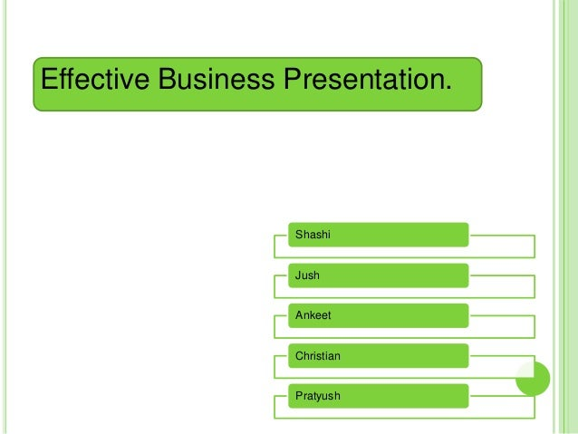 Effective Business Presentation.                   Shashi                   Jush                   Ankeet                 ...