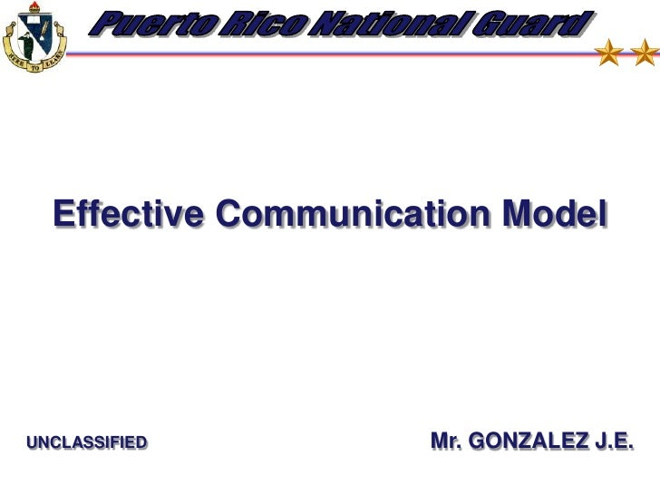 Effective Communication Model<br />UNCLASSIFIED  Mr. GONZALEZ J.E.<br />
